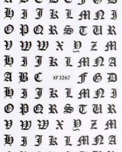 Nail Art Decals in Gothic Script